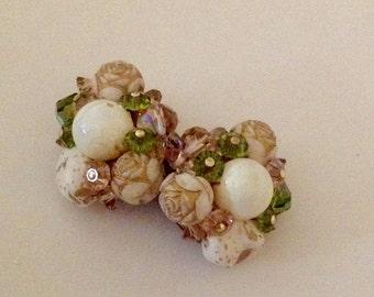 Vintage Beaded Carved Earrings Clip Earrings Green Ivory Gold