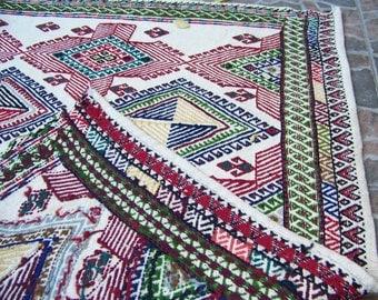 4'2 x 5'8 Feet- 128x178cm Anatolian handmade vintage Turkish wool on wool Bohemian Decor Embroidered Kilim cicim Rug