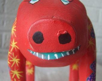 Pig Wood Carving Oaxacan Carved Wood Pig - Vintage Oaxaca Folk Art Smiling Piggy