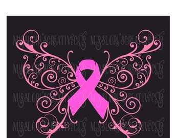 Breast Cancer awareness Butterfly   SVG Cut file  Cricut explore file t-shirt decal wood signs