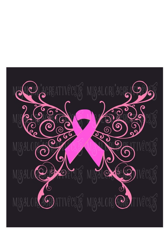 breast cancer awareness butterfly svg cut file cricut