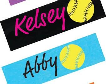 Personalized Softball Headband -  Stretch Headband - Sports Gifts - Softball Gifts - Team gifts