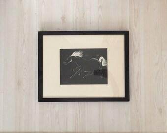 Charging horse - Original signed drawing