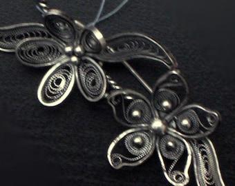 Silver - filigree brooch