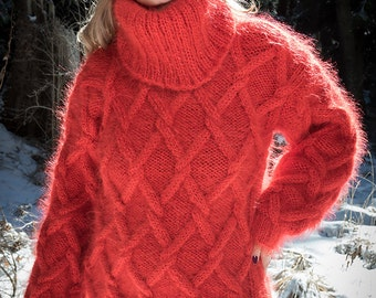 Red Sweater, Chunky Mohair Sweater, Cable Knit Jumper, Hand Knit men Sweater, Thick Turtleneck by TanglesCreations