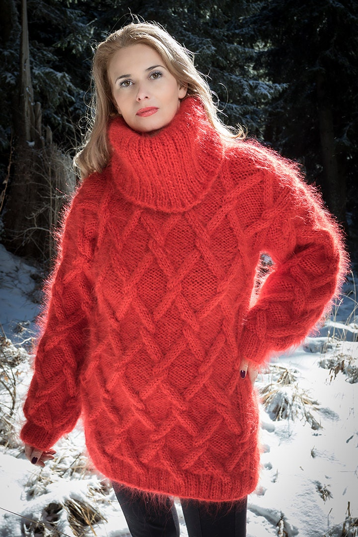 f04c5eb22 Red Sweater Chunky Mohair Sweater Cable Knit Jumper Hand Knit
