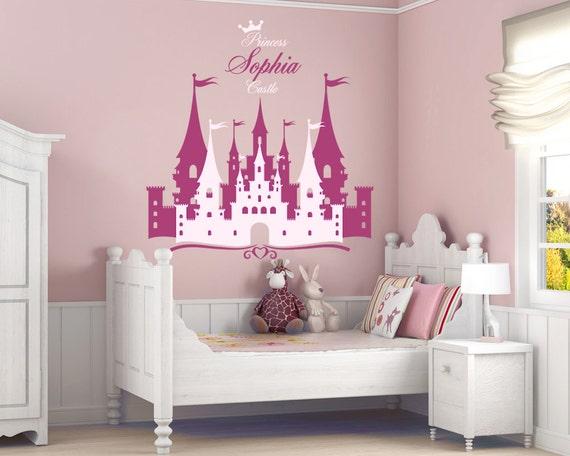 Château de princesse personnalisé nom autocollant chambre