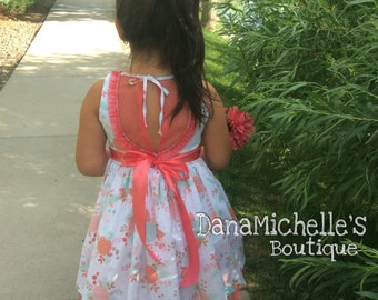 Coral- Mint girl dress/ toddler girl dress / Summer dress / vestido Coral-Menta