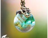 Underwater Seahorse Seashell Terrarium Necklace, Ocean Necklace, Sea and Sand Vial Jewelry, Adventure, Nautical Jewelry, Tropical, Paradise