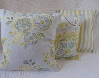 3 Yellow Cushion Pillow Covers 12 inch 31cm Cotton Flower Print Mix in Yellow, Blue and Grey Handmade