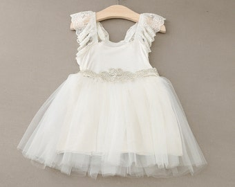 Girls baptism off white dress, christening dress, flower girl dress, baby first birthday, girls lace dress, sparkly dress, tutu dress,