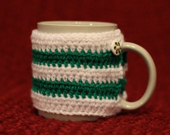 Green and White Striped Crochet Mug Cosy / Cup Cozy