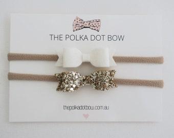 Gold + White Headband Set ,Gold Glitter Bow,White Bow,Baby Headband,Gold Baby Headband,White Baby Headband - 'lola' mini by thepolkadotbowco