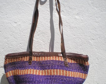 Shoulder Bag - Sisal Leather Bag- Woven Sisal bag - 70's Inspiration - OficinaDartesa*Craftswoman Shop