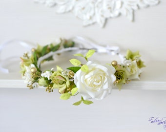 Bridal Floral crown White green flower wedding crown Bridal flower headband Roses crystal hair wreath Rustic wedding halo Boho Flower Girl