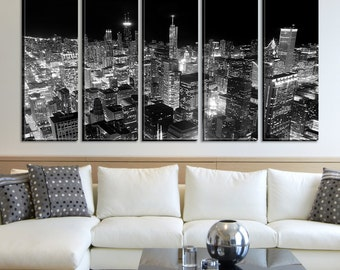 Chicago Nights Cityscape Canvas Wall Art, Chicago Skyline Canvas Print No:022