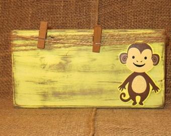 Monkey frame, Yellow Monkey, Distressed frame, Nursery decor, Monkey block, Shabby wood frame, yellow frame, baby room decor, jute frame