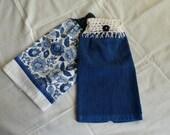 Brilliantly Blue Flower Crocheted Kitchen Towel, Kitchen Towel, Blue Flowers, Towels