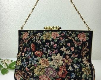 30's Art Deco Floral Petit Point Evening Handbag