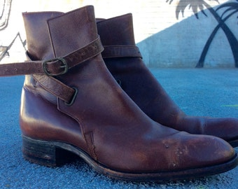 Vintage Chestnut Brown Leather Ankle Boots with Wrapped Strap, 6.5