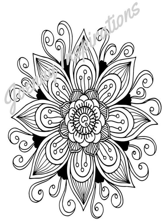 Adult Coloring Book, Printable Coloring Pages, Coloring Pages, Coloring Book for Adults, Instant Download, Fancy Flowers 2 page 7