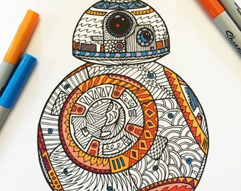 BB8 - PDF Zentangle Coloring Page
