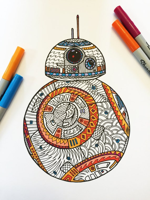 Bb8 pdf zentangle coloring page for Selling coloring pages on etsy