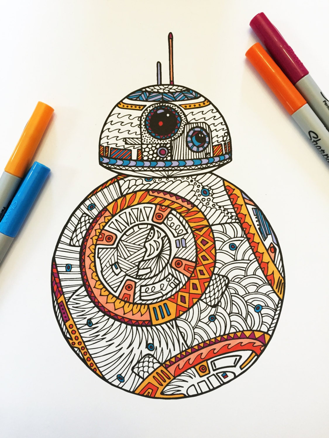 Sw swear word coloring pages etsy - Bb8 Pdf Zentangle Coloring Page