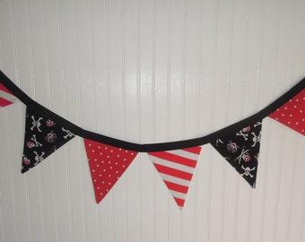 Pirate, Skulls, Red, Black, Fabric Banner, Bunting, Birthday, Cake Smash, Back Drop, Photo Shoot, Shower, Nursery