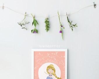 Mermaid print - Coral salmon artwork - Mermaid themed nursery - Let s be mermaids quote - Coral mermaid art - Girls room decor