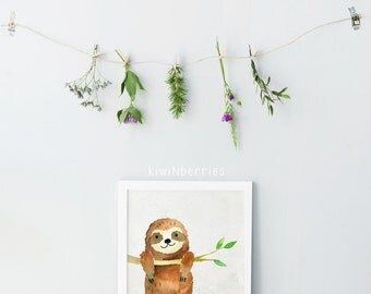 Sloth print - Sloth wall art - Hanging sloth art - Kids room decor - Printable art - Digital art prints - Instant download art