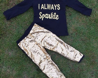 I Always Sparkle Sequin Boutique Outfit For Girls Infants Toddler Kids Clothes Holiday