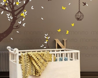 Delicate Flower Branch With Birds,Butterflies And Cages  Living Room,Kids  Bedroom,