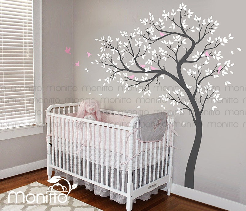 natural tree white tree decalbirds wall decalsnursery. Black Bedroom Furniture Sets. Home Design Ideas