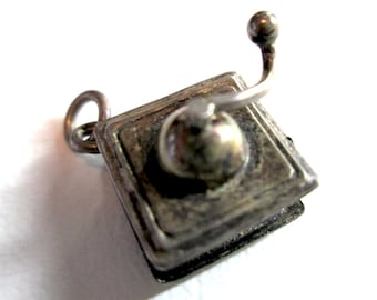 Vintage Sterling Silver 925 Tiny Moveable Movable Coffee Grinder Charm Cute 3d Mill Caffeine Adorable Miniature