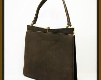 Vintage Suede Handbag, Vintage Suede Purse, Vintage Suede Pocketbook, Vintage Nicholas Reich Handbag, Vintage Nicholas Reich Pocketbook