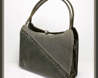 Vintage Vinyl Handbag, Vintage Lennox Handbag, Vintage Faux Suede Handbag, Vintage Grey Handbag, Vintage Vinyl Purse, Vintage Lennox Purse