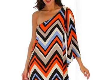 Orange Chevron One Shoulder Bell Sleeve Dress