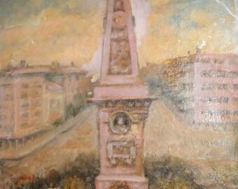 Antique Impressionist cityscape monument oil painting