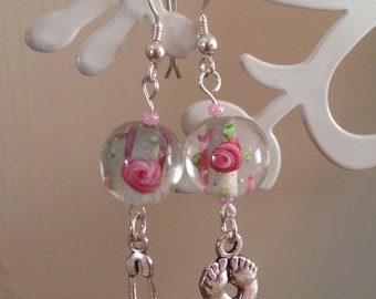 BDSM earrings,Baby Girl,Little Girl,Sterling Silver,submissive,slave,Glass Lampwork Beads,Baby themed Charms,Pink flowers,fetish,kinky