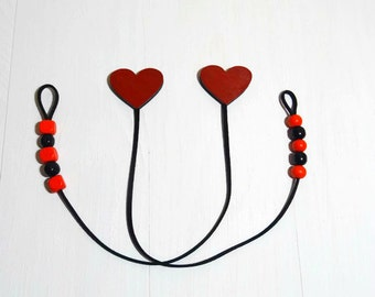 Heart Wood Bookmark Wooden Love Bookmark Dual Set Of Bookmark Red Bookmark Leather Suede Bookmark Mothers Day Gift Bookmark For Diary