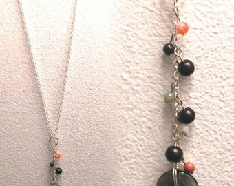 Simple long chain necklace with dangling multicolored beads