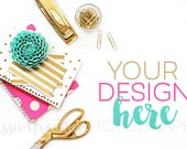 Pink Gold Styled Desktop with Gold Scissors, Styled Stock Photography, Stationery Styled Mockup, Product Background Photo, Teal Pink Gold