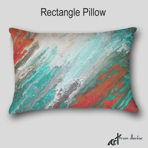 Etsy Teal Throw Pillow : Decorative throw pillow Designer Teal aqua coral gray
