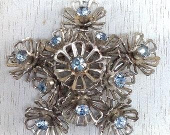 Gorgeous Vintage Coro Star Flower Cluster Tier Light Blue Rhinestone Gold Tone Brooch