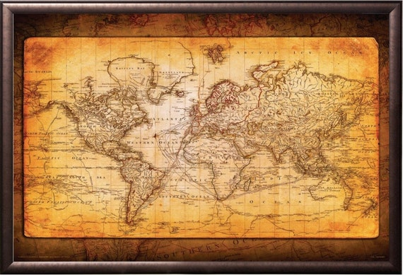 World Map Burnt Antique Style Framed in Decorative Copper