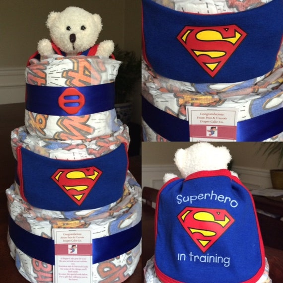 superman diaper cake from peas and carrots diaper cake co baby shower