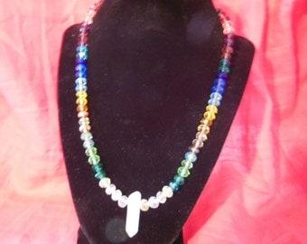 Rainbow Swarovski necklace with crystal pendant