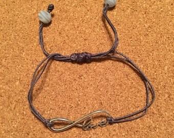LOVE Slide Knot Bracelet Gray