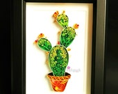 Cactus Plant, Cactus Botanical Art, Unique cactus art gift nursery home wall decor,Quilled Paper Art.